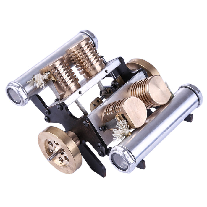 Stirling Engine Kit V-shape Four-cylinder Vacuum Suction v4 Engine Model Toy - stirlingkit