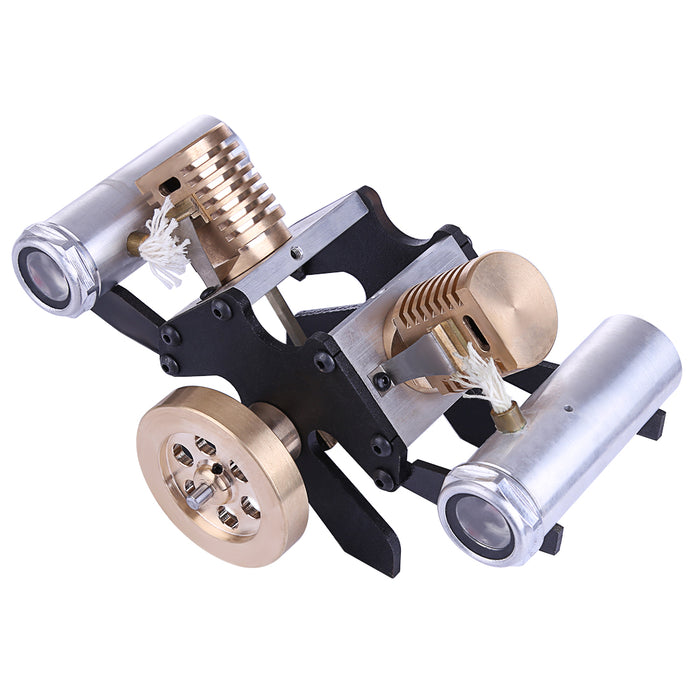 Stirling Engine Kit V Shape Suction Type Double-cylinder Vacuum Model High-end Creative Gifts for Collection - stirlingkit