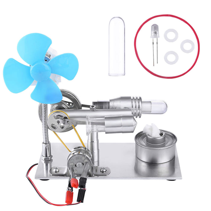 Stirling Engine Kit Single Air Stirling Engine Motor Engine Model Toy with Bulb and Fan - stirlingkit
