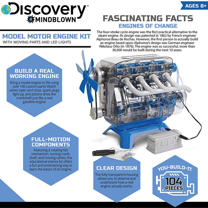 DIY Model Engine Kit Toy Mechanic Four Cycle Internal Combustion Assembly Construction - stirlingkit