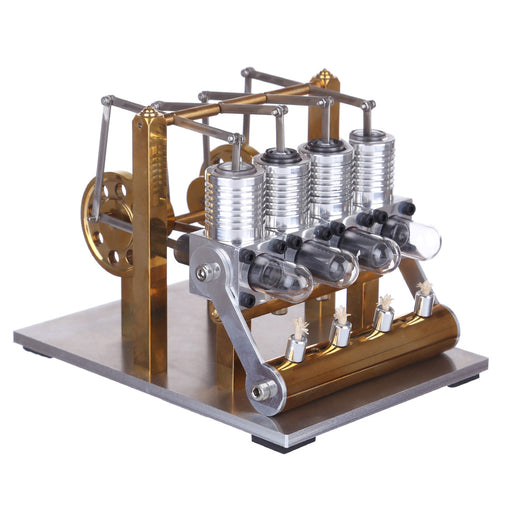 Stirling Engine Kit 4 Cylinder Row Balance Model Engine External Combustion Engine - stirlingkit