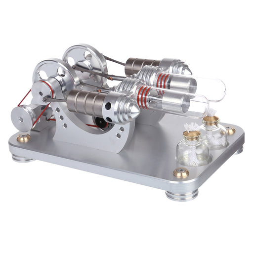 Hot Air Stirling Engine 2-Cylinder LED Flywheels Education Toy Electricity Power Generator - stirlingkit