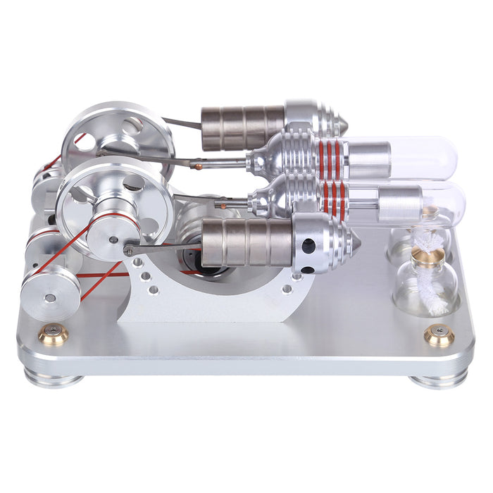 Double Cylinder Stirling Engine Model Metal Parallel Electric Generator Micro External Combustion Engine Model - stirlingkit