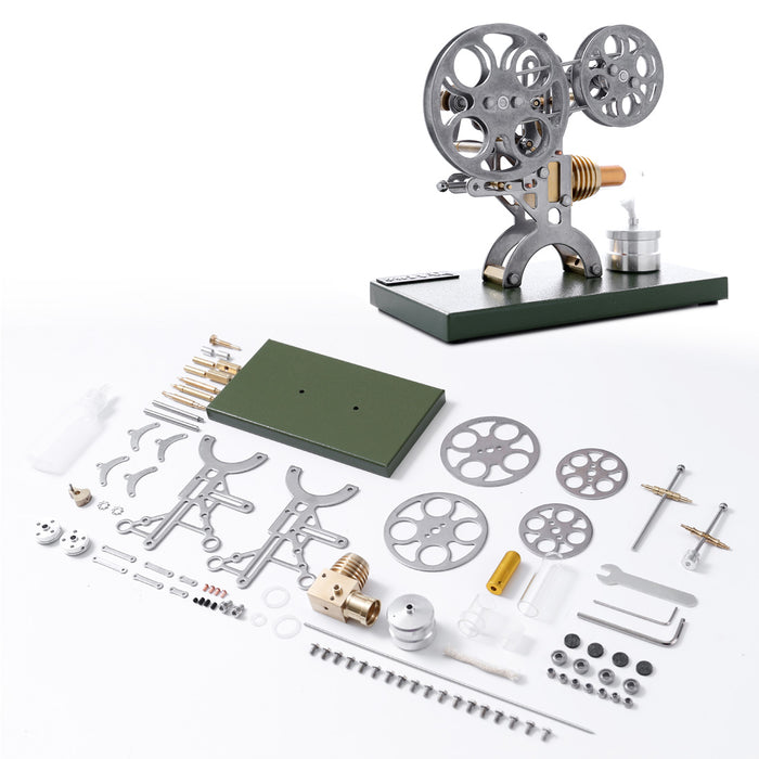 Retro Nostalgic Projection Stirling Engine External Combustion Engine DIY Steam Toy with Metal Base - Assembled Version - stirlingkit