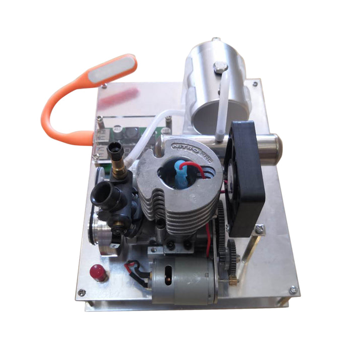 Modified 2 stroke Single Cylinder Air-cooled Gasoline Engine 12V Generator One Key Electric Start - stirlingkit