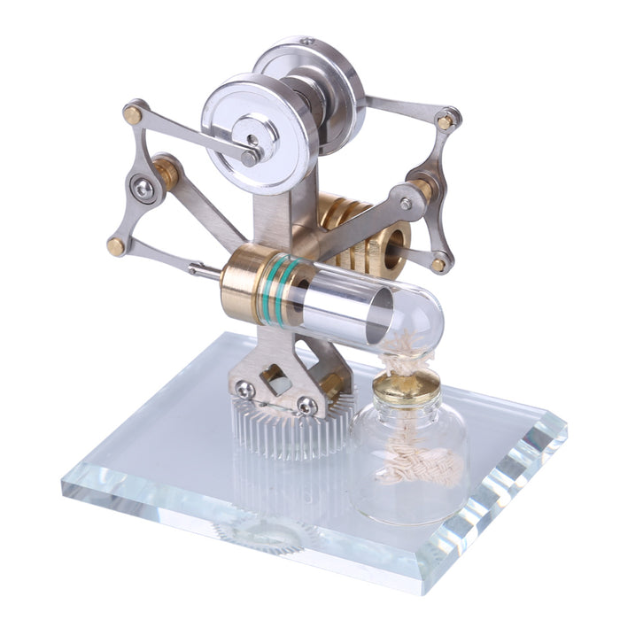 Stirling Engine Kit Miniature Balance Stirling Engine Model Toy With Crystal Glass Bottom - stirlingkit