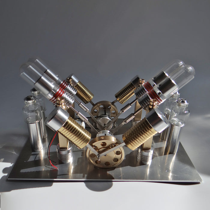 Stirling Engine Kit V-shape 4-Cylinder V4 Parallel Micro External Combustion Engine Model - stirlingkit