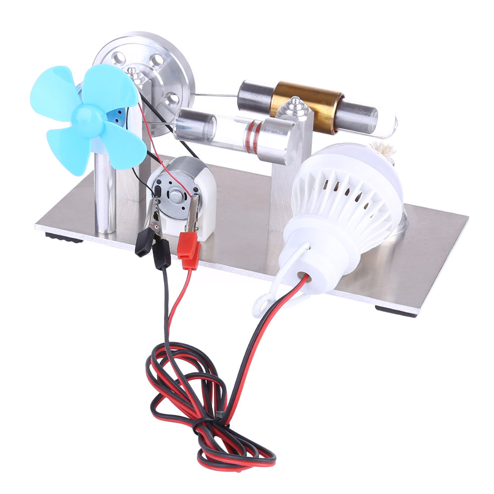 All Metal Mini Hot Air Stirling Engine Motor Model Educational Toy Kits with Fan and Bulb - stirlingkit