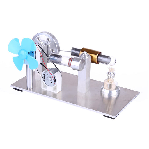 Updated All-metal Stirling Engine Model Kit Quartz Hot Cylinder Stirling Engine Motor with Fan Bulb-- Stirlingkit - stirlingkit