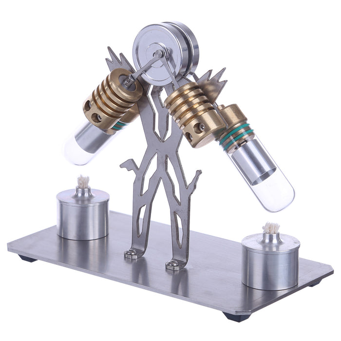 Stirling Engine Model Kit Superman Robot V-Shaped Double Cylinder Motor Model - stirlingkit