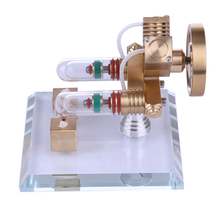 Stirling Engine Kit V Shape Model Free-piston Double-cylinder High-end Creative Gifts for Collection - stirlingkit