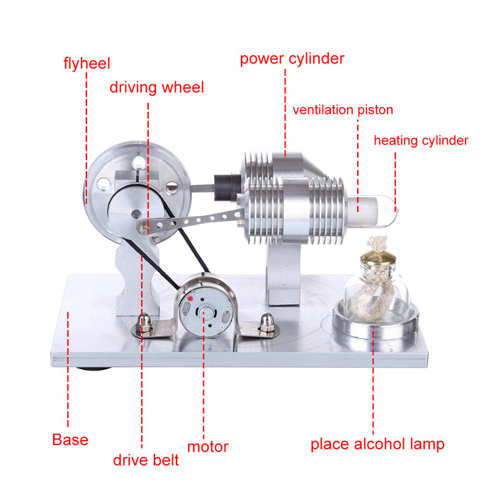 Double Cyclinder Stirling Engine Generator Model Science Experiment Steam Toy - stirlingkit