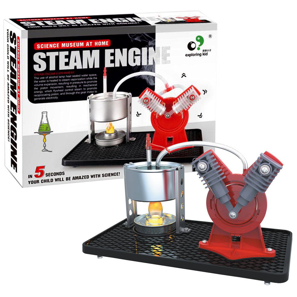 Twin Live Steam Engine Model Kit + led generator learning equipment - stirlingkit
