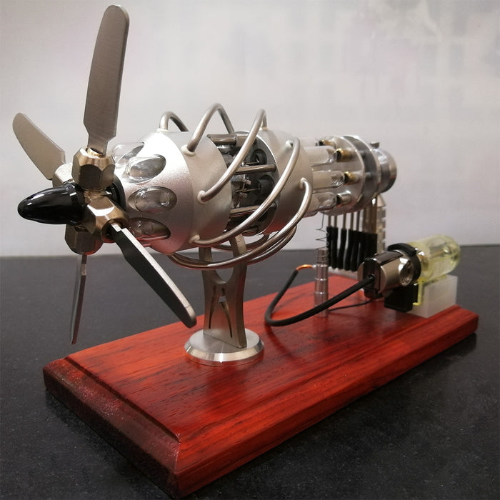16 Cylinder Upgraded Stirling Engine Model Quartz Glass Hot Air Creative Motor Engine Generator - stirlingkit