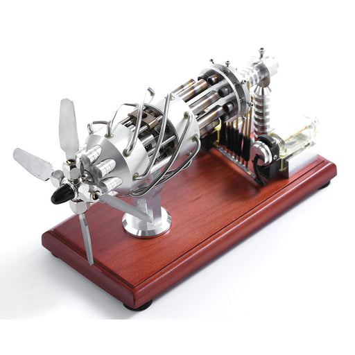 Newest Version 16 Cylinder Dual Fuel Bottle Hot Air Motor Generator Creative Stirling Engine Model Toy - stirlingkit