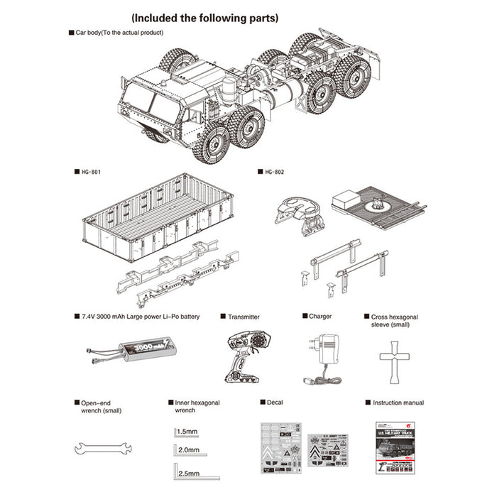 HG 1:12 8 x 8 R/C 2.4G Electric RC Militray Truck Model