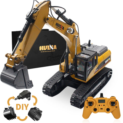 1/14 3-in-1 Engineering Construction Vehicle Crusher Timber Grab Truck 2.4G RC Simulation Excavator Toy with Smoke LED Light Effect - stirlingkit