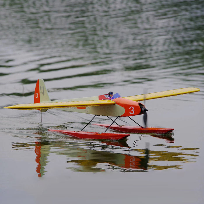 1320mm Wingspan Wooden Electric Aircraft Fixed Wing Seaplane Balsa Airplane Assembly KIT - Orange - Stirlingkit