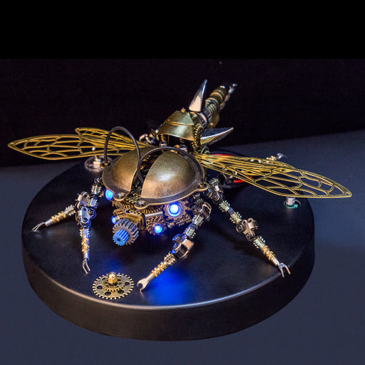 3D Metal DIY Rotatable Steampunk Beetle Insect Assembly Kit with Voice Control Light - stirlingkit