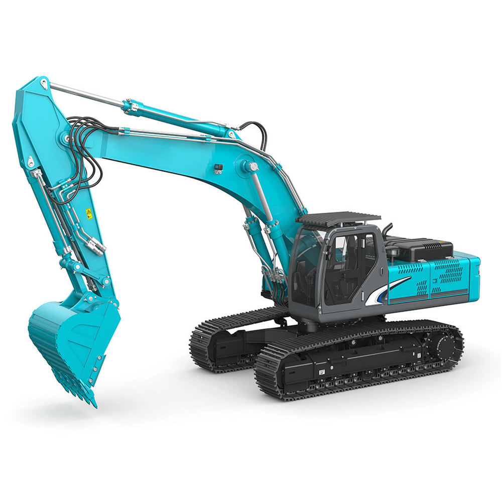 All-metal 1/14 2.4G 10CH Multi-Functional RC Hydraulic Excavator Engineering Navvy Construction Machinery Model Blue - Stirlingkit