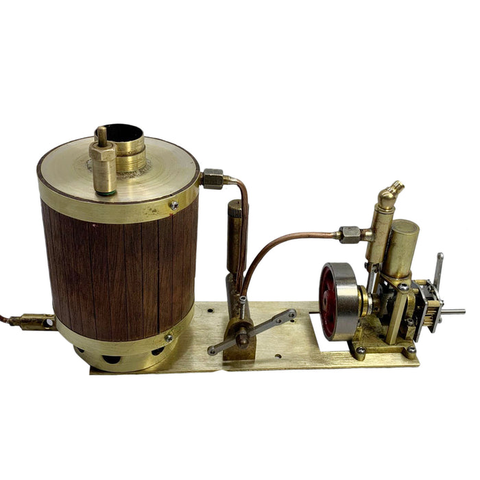 Brass Single-cylinder Mini Steam Engine Set with Gearbox Boiler for 50cm RC Ship - stirlingkit