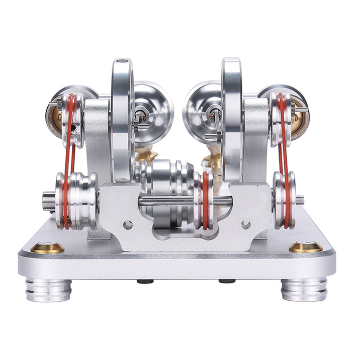 Custom 2 Cylinders Hot Air Stirling Engine Model Generator with Voltage Meter & LED Lamp Bead - stirlingkit