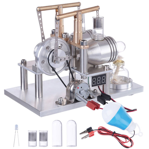 Custom Stirling Engine 2 Cylinders Hot Air Generator Model with Voltage Meter LED Bulb Science Experiment Educational Toy - Stirlingkit