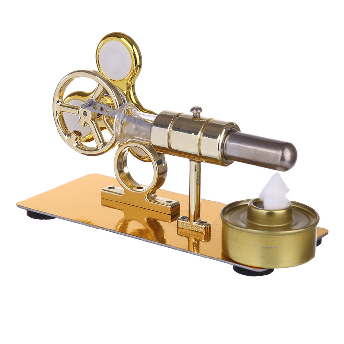 Customized Golden Single Cylinder Stirling Engine Model with Luminous Gyroscope Physical Experiment - stirlingkit