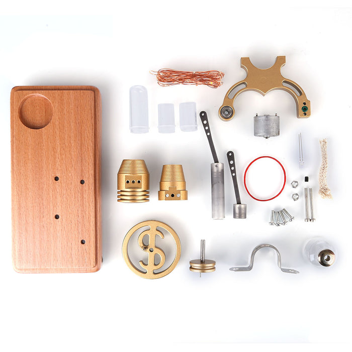 DIY γ-shape Assembly  Retro Stirling Engine Kit Generator Sterling Model with LED Light Science Educational Toy - stirlingkit