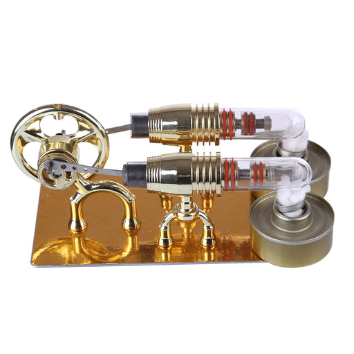 Golden Two Cylinders Stirling Engine Model Physics Science Educational Toys Custom - stirlingkit