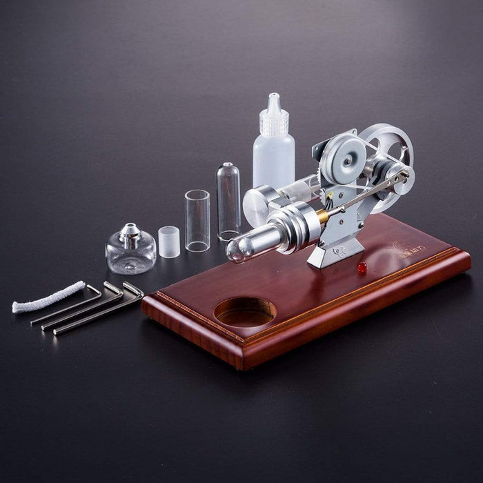 Hot Air Stirling Engine Kit Education Toy With Brown Solid Wood Baseplate - stirlingkit