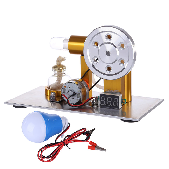 L-Shaped Customized Golden Led Stirling Engine Model with Voltage Digital Display Meter - stirlingkit