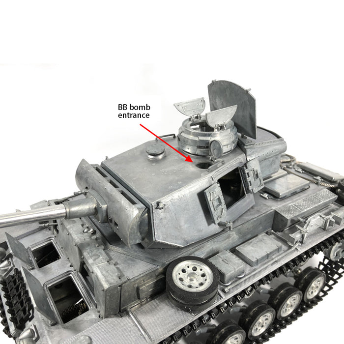 MATO 1:16 WWII German Panzer III Full Metal Remote Control Military Tank Model -  Shot Version - Stirlingkit