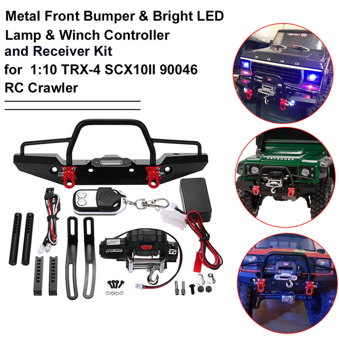 Metal Front Bumper with 2 LED Lights Remote Control Electric Winch for 1/10 Traxxas TRX-4 SCX10II 90046 - stirlingkit