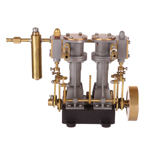 Brass 2 Cylinders Mini Compound Steam Engine with Reversing Gear for RC Ship Boat