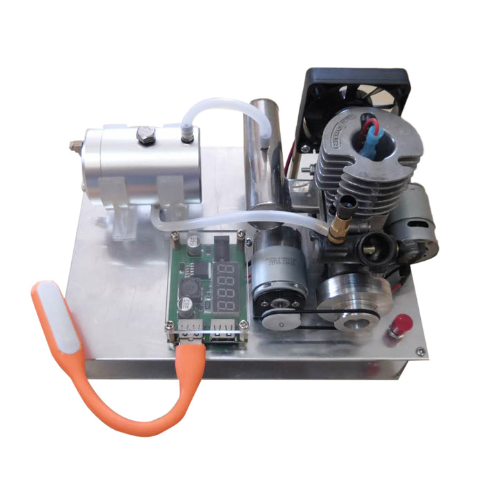 Modified 2 Strokes Single Cylinder Aircooled Methanol Engine into 12V Generator Model Set - stirlingkit