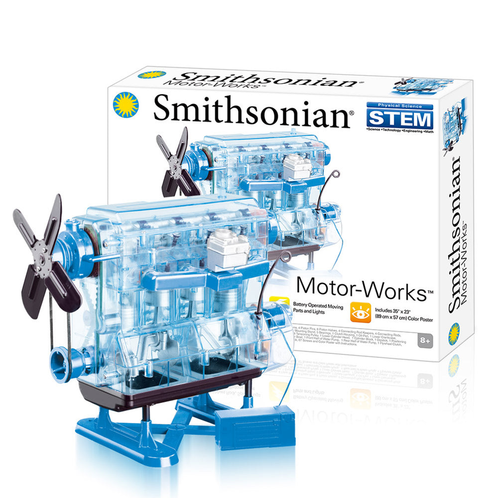 Smithsonian DIY L4 4 Cylinder Inline 4 Car Engine Assembly Model Kit STEM Science Toy Blue - stirlingkit