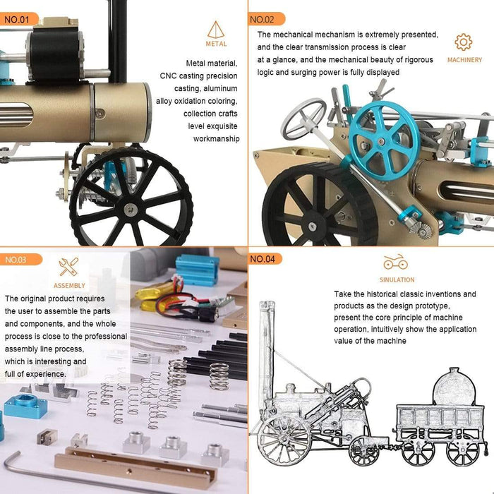 Steam Car Model Full Metal Model Toy Collection Gift Decor All-metal High Challenge Assembled Kit - stirlingkit