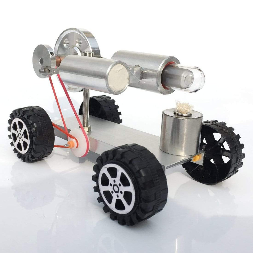 Stirling Engine Car Model Stirling Motor Model Kit Metal Base Rubber Wheel - stirlingkit