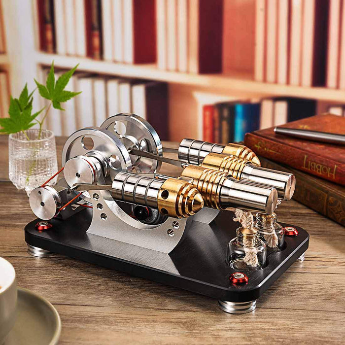 Stirling Engine Kit 2-Cylinder Parallel Bootable Micro External Combustion Engine Model - stirlingkit