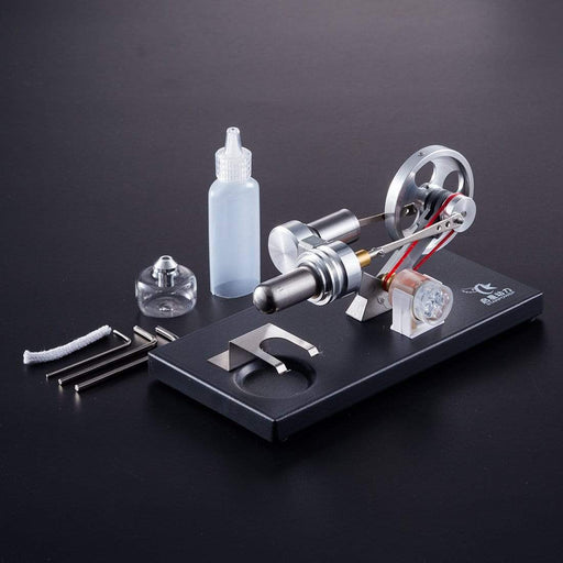Stirling Engine Kit DIY Metal Cylinder With 4Pcs LED Light Black Metal Baseplate Stem Steam Model Set - stirlingkit