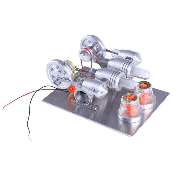 Double Cylinder Stirling Engine Motor Model Educational Toy Electricity Generator Physics Science Experiment Kits - stirlingkit