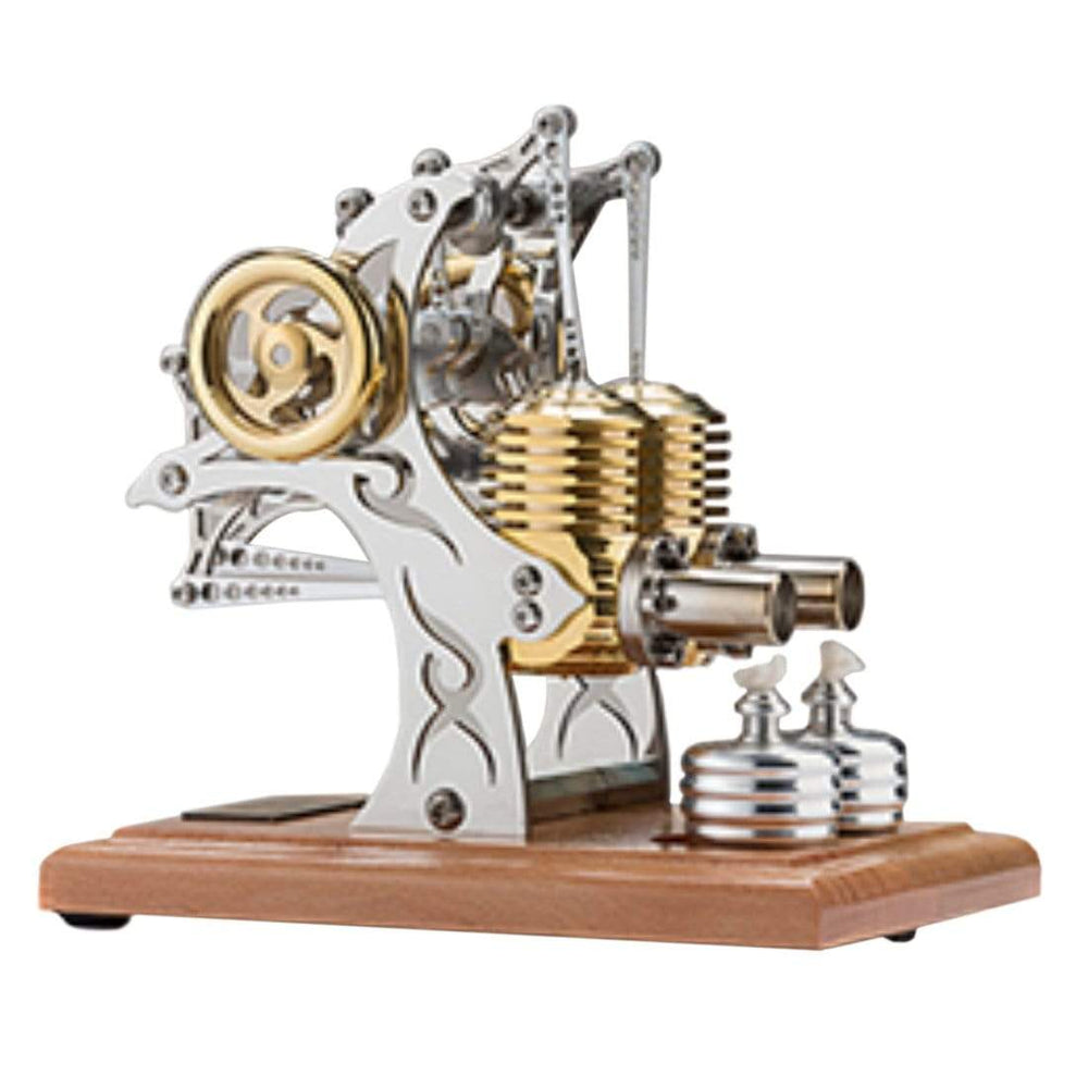 Stirling Engine Kit High-end Precision All-metal Double-cylinder Engine Model Assembly Movable Metal Mechanical Engine Toy - stirlingkit