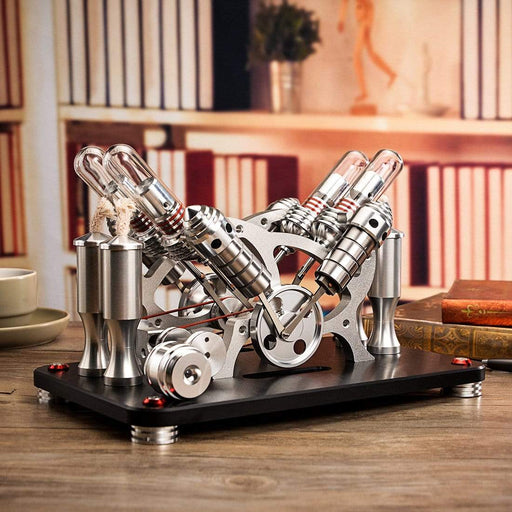 Stirling Engine Kit Metal Bootable V4 4-Cylinder Parallel Micro External Combustion Engine Model - stirlingkit