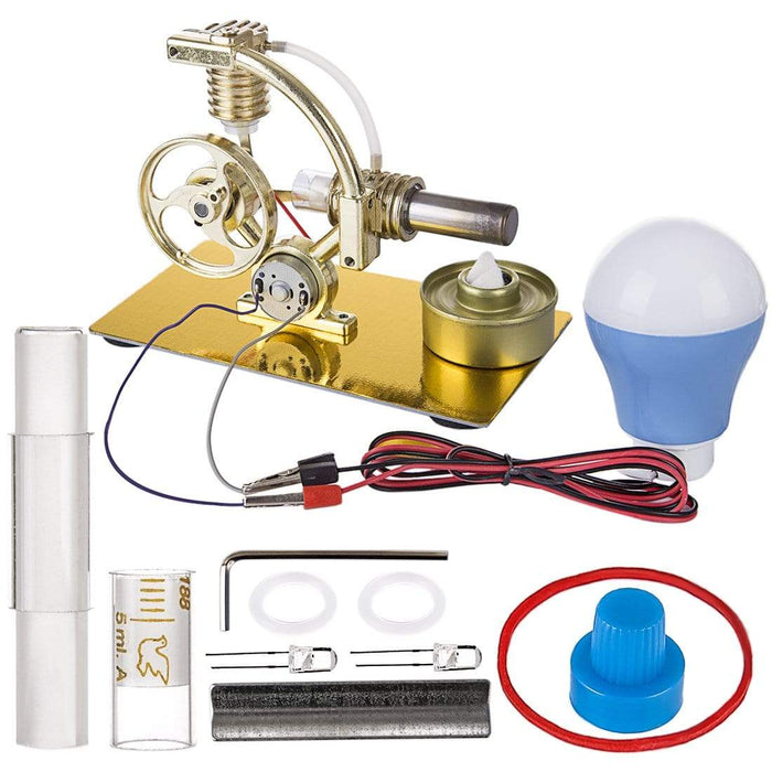 Stirling Engine Kit Metal Steam Engine Model Generator With Bulb Science Toy - stirlingkit