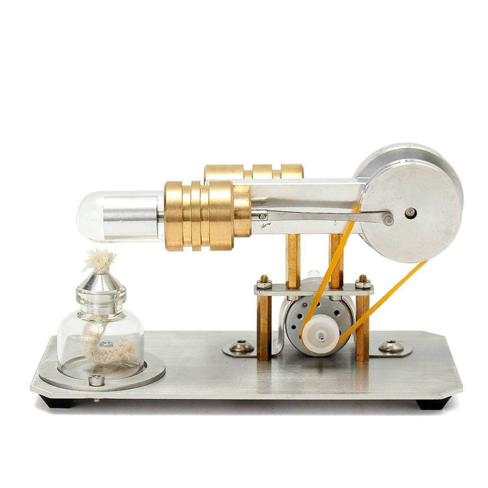 Stirling Engine Kit Single Cylinder Model Toy With Stainless Steel Base Plate Brass - stirlingkit