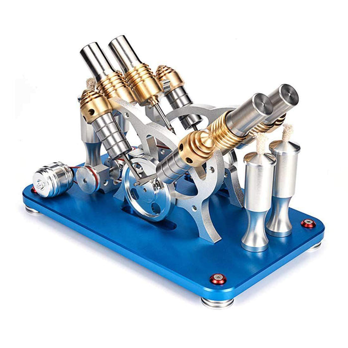 Stirling Engine Kit V4 4-Cylinder Parallel Micro External Combustion Engine Model - stirlingkit