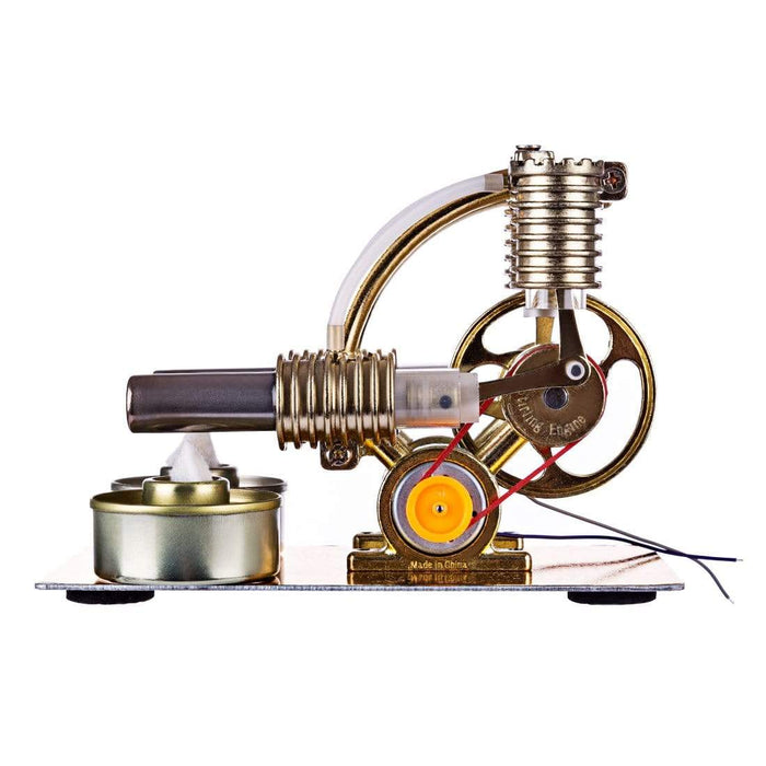 Stirling Engine Model Kit L-Shape Double Cylinders with All-metal Base and Big Bulb - stirlingkit