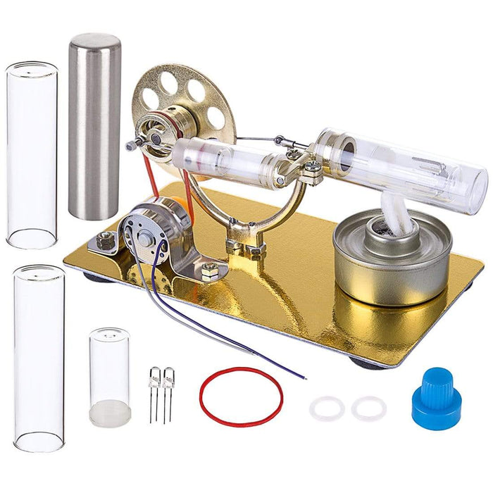 Stirling Engine Set Model Single Cylinder Science Experiment Kit with All-metal Base - stirlingkit