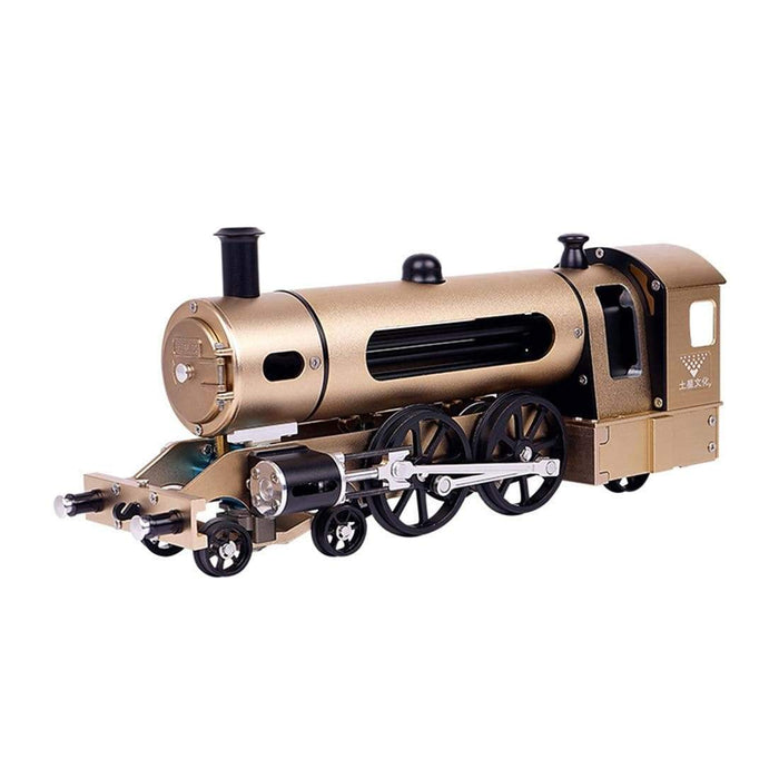 Teching Engine Steam Train Model With Pathway Full Aluminum Alloy Model Gift Collection STEM Toys - stirlingkit